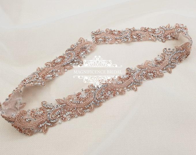 Featured listing image: Rose gold bridal belt, Rose gold belt, rose gold sash, luxury bridal belt, wedding belt, blush belt, hand beaded belt, jewelled belt, LYDIA