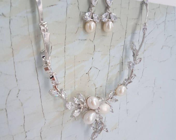 Featured listing image: Pearl bridal set, bridal jewelry set, pearl necklace, pearl jewelry set, wedding jewelry set, cz bridal set, bridal jewelry, pearl set ZARA