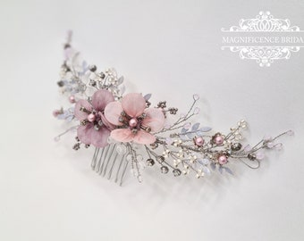Wedding headpiece, Bridal hair comb, Bridal headpiece, bridal comb, wedding hair piece, flower headpiece, pearl headpiece, wedding comb, LIA