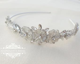 Bridal headband, wedding tiara, beaded headband, beaded tiara, bridal tiara, wedding headband, beaded crystal tiara, bridal headpiece ALVINA