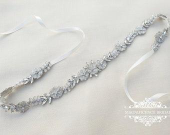 Bridal belt, bridal sash, thin bridal belt, vintage bridal belt, wedding belt, thin rhinestone belt, crystal belt, wedding belt, ALVIA