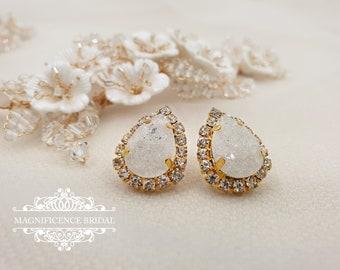 Bridal Drop Earrings, Frosted earrings, Studs Earrings, rose gold earrings, rose gold earrings, crystal pear shape, drop earrings, SOPHIA