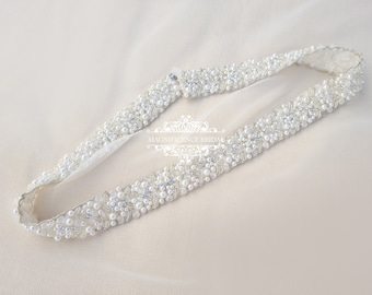 Pearl bridal belt, bridal belt, wide bridal belt, wedding dress belt, pearly belt, pearl trim, sew on belt, ivory pearl belt, sashes PAIGE