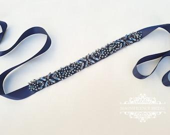 Navy blue bridal belt, blue bridal belt, navy bridal belt, blue sash belt, blue rhinestone belt, wedding belt, navy blue belt, NOEBE