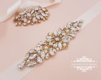 Opal bridal belt, bridal belt, wedding belt, opal sash, gold bridal belt, wedding comb, diamante belt, opal belt, diamante sash, MIAH