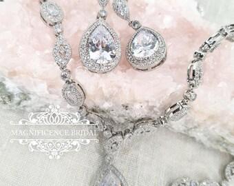 Bridal jewelry set, bridal necklace, cz bridal set, zircon necklace, bridal set, cubic zirconia, jewelry set, cz necklace set, cz set, BIJOU