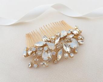 Opal headpiece, opal and gold, opal hair comb, bridal set, gold headpiece, beaded headpiece, bridal headpiece, bridal hair comb, gold comb