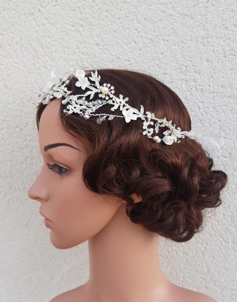 bridal flower crown floral crown bohemian wedding Flower crown bridal headpiece FAYRE wedding tiara flower halo wedding headband
