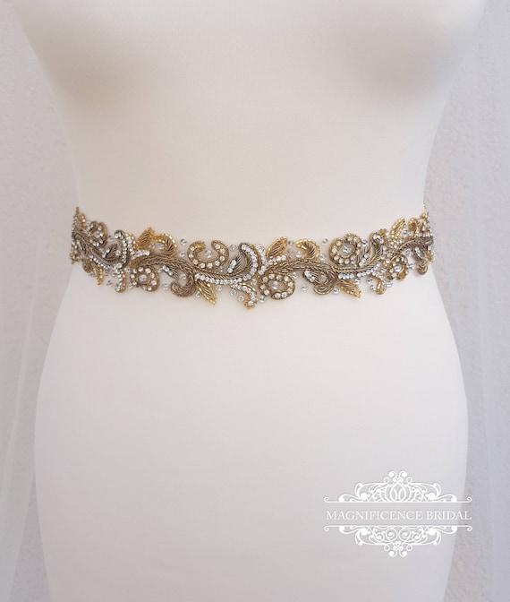 Antike goldene Schärpe Gold-Braut-Gürtel Vintage