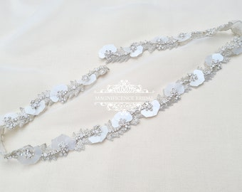 Trendy bridal belt, wedding dress belt, belt with sequins, large sequins belt, Leaf belt, Bridal belt, wedding belt, Art deco, ESTELLE
