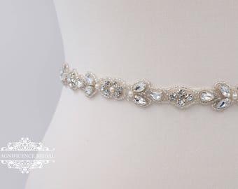 Thin bridal belt, bridal belt, thin bridal sash, thin wedding belt, thin rhinestone belt,  skinny bridal sash, skinny belt, thin trim, BETH