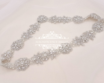 Wedding sash belt,  vintage bridal belt, All around, beaded belt, wedding sash, bridal sash, bridal trim, diamante belt, wedding belt, BERTA