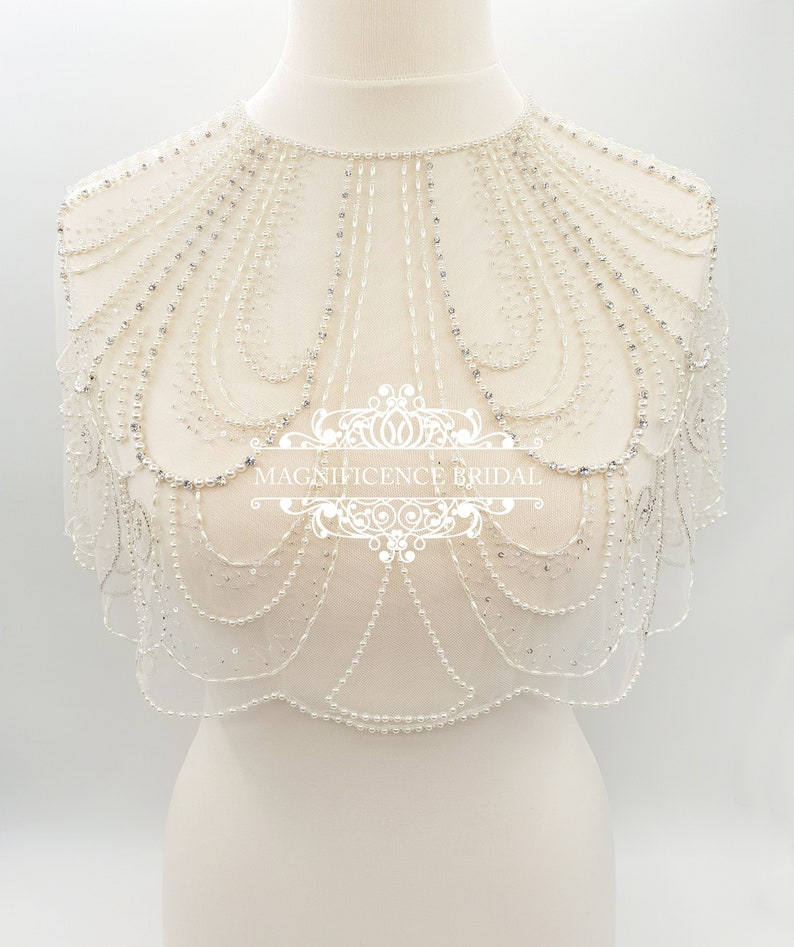Art Deco wedding, Bridal cover up, Bridal capelet, shoulder cover up, Great Gatsby, wedding capelet, beaded capelet, bridal wrap, HOLLIE by Magnificence Bridal, Etsy