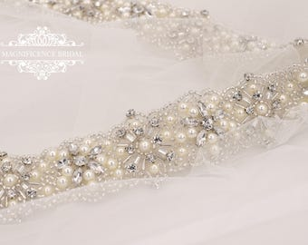 Pearl belt, all around, Bridal belt,  pearl bridal belt, wedding belt, bridal sash, Beaded belt, sash belt, pearl wedding belt, MARY-ANN