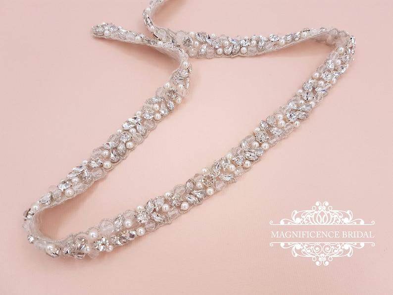 Pearl bridal belt pearl belt Bridal belt thin bridal belt image 0