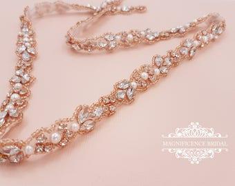 Rose gold thin belt, bridal belt, thin bridal belt, rose gold belt, thin bridal sash, thin wedding belt, thin rhinestone belt, BETH-V
