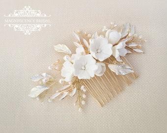 Clay flower comb, bridal comb, Gold Headpiece, gold bridal comb, Bridal hair piece, Bridal headpiece, wedding headpiece, bridal hair, NESSA