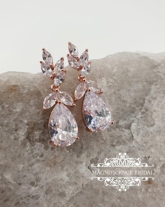 Rose gold earrings, Bridal CZ Earrings, Bridal earrings, bridesmaid jewelry, Bridesmaids gift, crystal earrings, Drop zircon earrings, PAULA