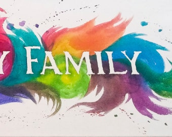 Family Text Custom Acrylic Painting 12x36