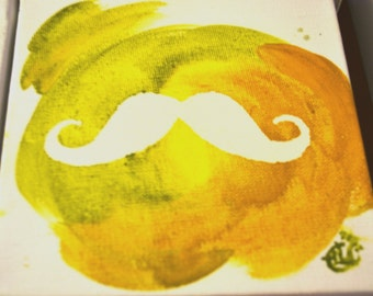 Mustache Acrylic Painting 6x6