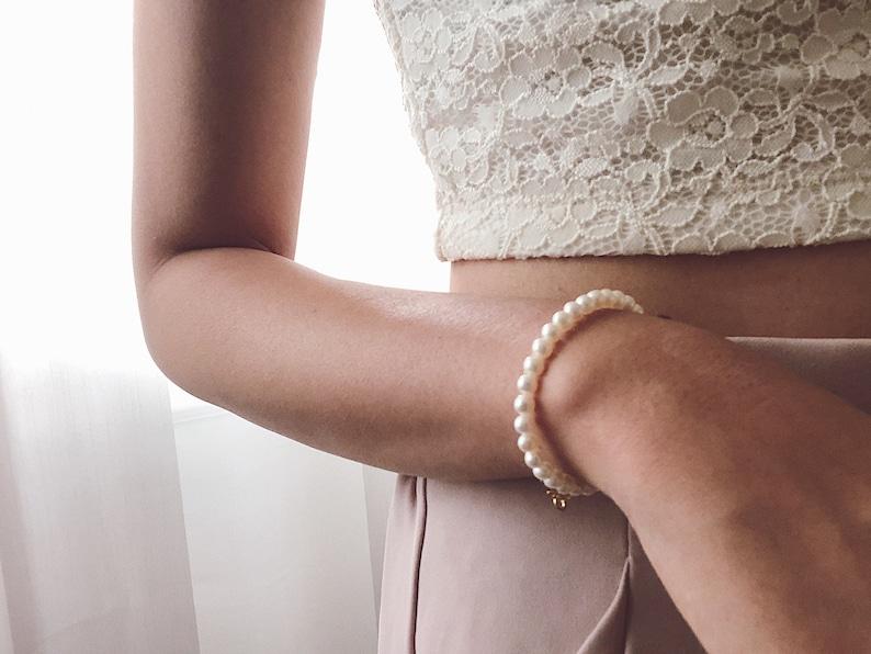 SunJewel Mermaid Whisper Bracelet Gift For Her June Birthstone 3mm round Freshwater White Pearl