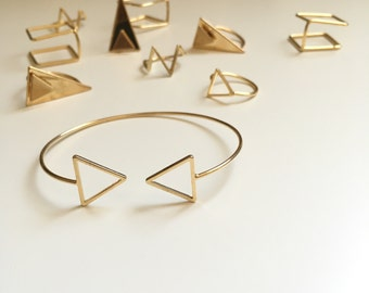 SunJewel Gold Cuff Bracelet, Triangle Cuff Bracelet, Jewelry Gifts, Unique Friendship Gifts, Friendship Jewelry, Bracelets For Women