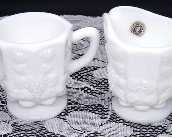 Vintage Westmoreland Paneled Grape Creamer & Open Sugar Bowl Set Milk Glass Original Label