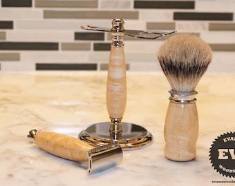 Men's Shaving Kit - Birdseye Maple Wood - Handmade Shaving Set with Shaving Stand, Shave Brush & Razor - Father's Day Gift, Groomsman Gift