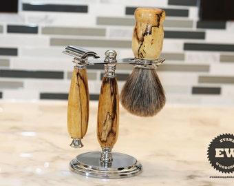 Shaving Set - Spalted Tamarind Wood - Handmade Shaving Kit with Shaving Stand, Shave Brush & Razor - Father's Day Gift, Groomsmen Gift