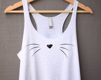 Cat Whiskers Tank Top - Cat Tank Top - Cat Shirt - Cute Cat Tank Top - Cat Lover Gift - Cat Whiskers