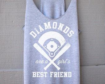 Diamonds Are A Girls Best Friend Tank Top - Baseball Shirt for Women - Baseball Womens Tank Top - Baseball Gift