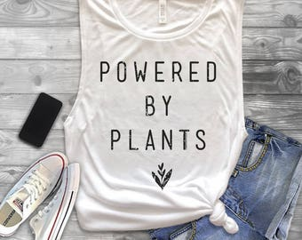 6531cac9d55ddd Powered by Plants Muscle Tank Top - Vegan Tank Top - Vegetarian Shirt -  Vegan Shirt - Vegan Muscle Tank Top - Powered by Plants