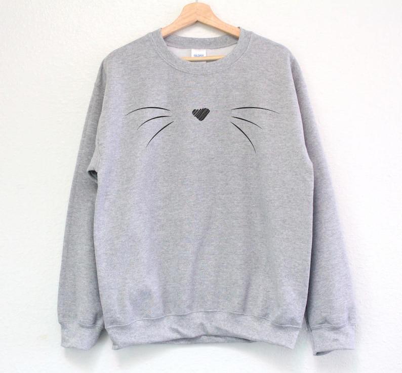 Cat Sweatshirt  Cat Whiskers Sweatshirt  Cute Cat Whiskers image 0