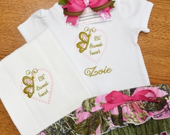 Pink Camo Baby Gift, Personalized Baby Gifts, Bringing Home Baby, Take Home Outfit Girl, Embroidered Baby, Camo Baby Girl, Diaper Cover Set