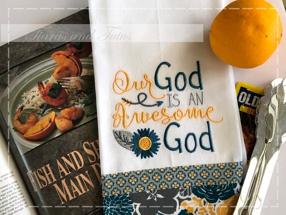 Embroidered Dish Towel Kitchen Towel Dishcloth Awesome God Etsy