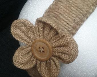 Hemp, Macrame Headband with Hemp Flower Button
