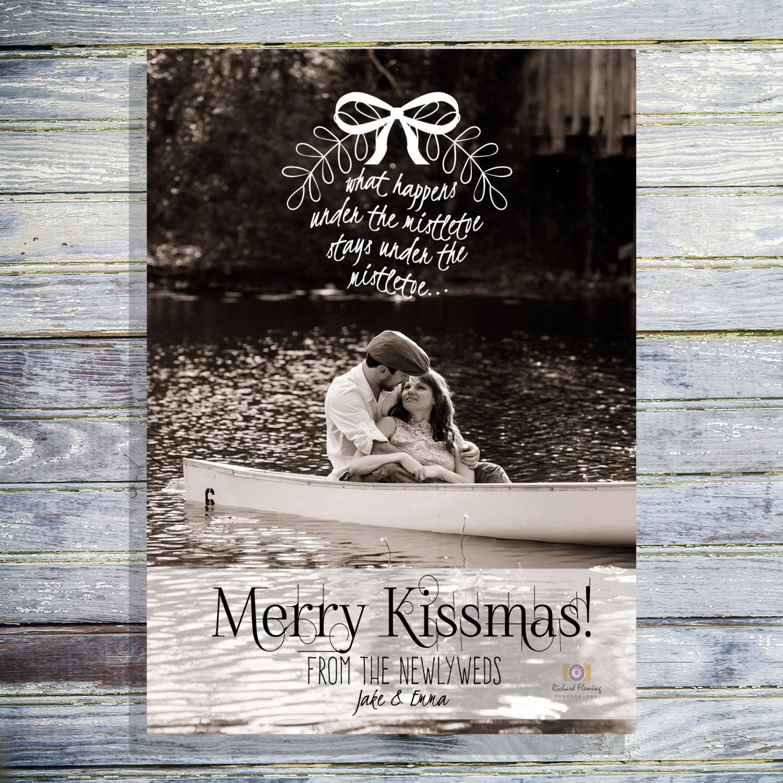 Christmas Photo Card Merry Kissmas Newlywed Christmas Card | Etsy