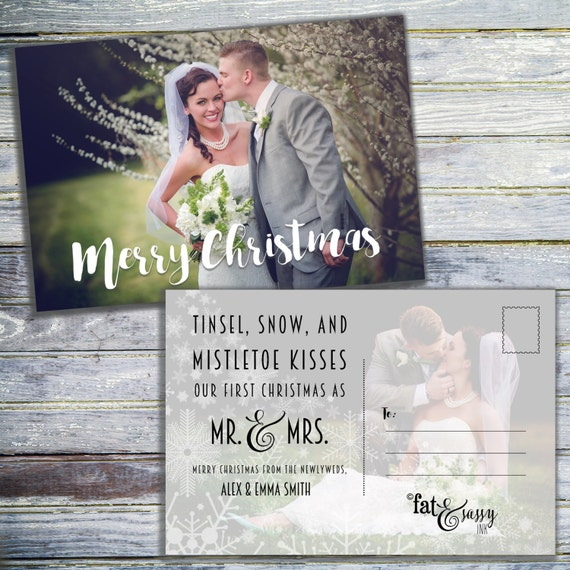 our first christmas as mr and mrs christmas card newlywed etsy