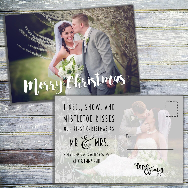 Our First Christmas As Mr And Mrs Christmas Card - Newlywed Christmas Card - Just Married Christmas Card - Christmas Photo Postcard