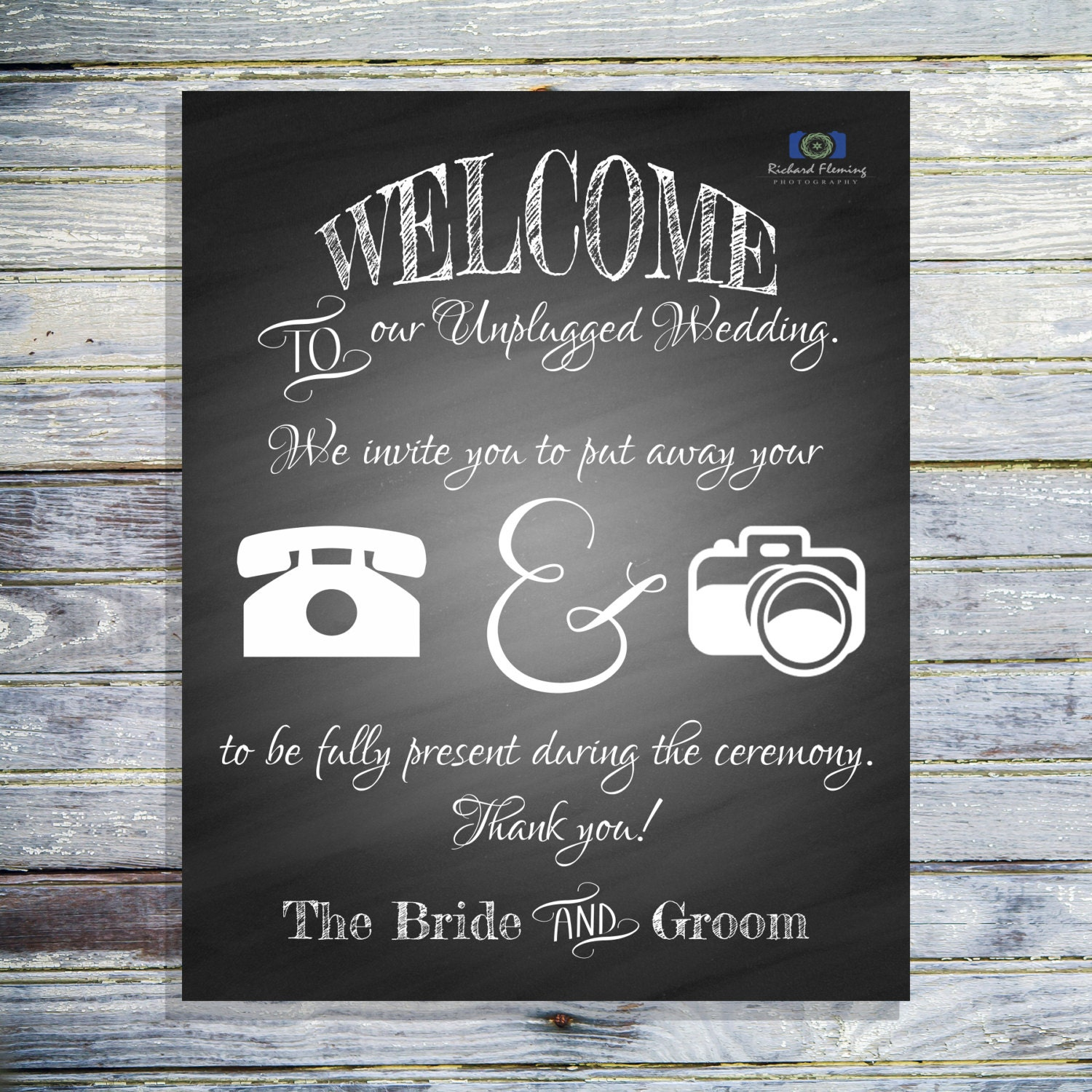 No Ceremony Just Reception: Unplugged Wedding Ceremony Chalkboard Sign No Phones Or