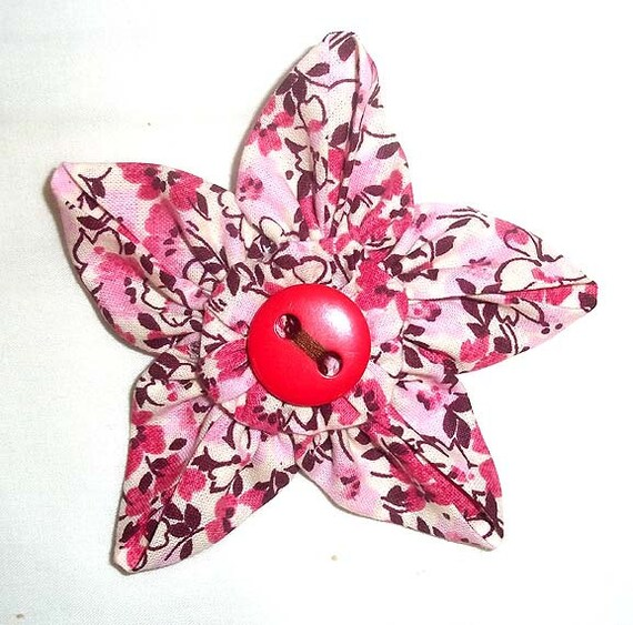 Fabric Flower Brooch Or Pin In Pink And Brown Floral With Etsy