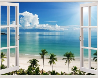 Q703 Coffee Scenic Sea Holiday Pier Window Wall Decal 3D Art Stickers Vinyl Room