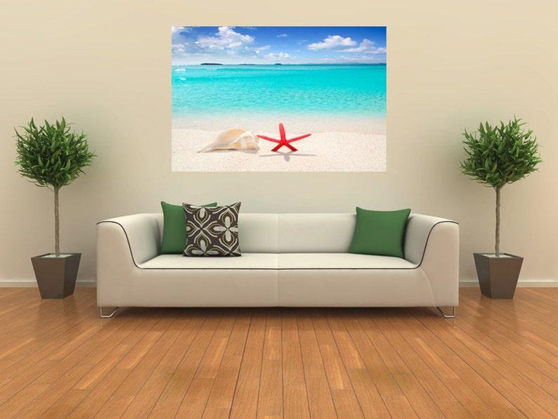 tropical sea poster home decor coast wall art print photo Starfish wall decal seashell wall sticker white sand beach wall decor vinyl 057