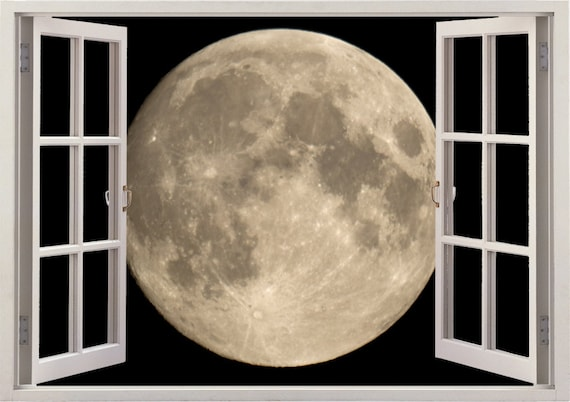 moon wall sticker 3d window moon wall decal for home decor | etsy