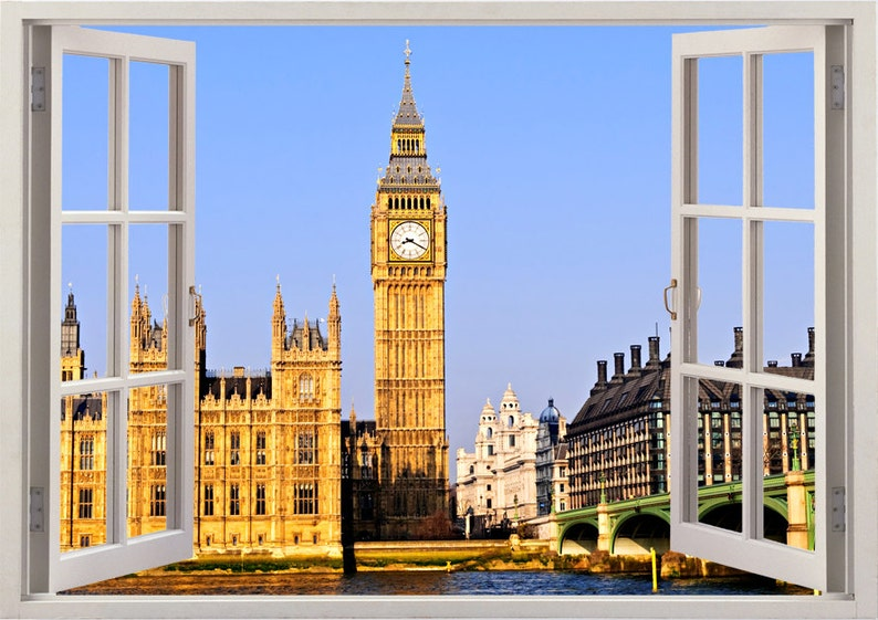 big ban wall sticker 3d window london wall decal uk for home | etsy