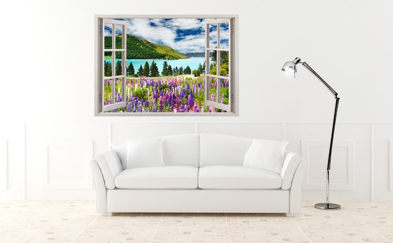 081 colorful flowers wall art for nursery kids home decoration Landscape wall decal for home decor Lake wall sticker flowers 3D window