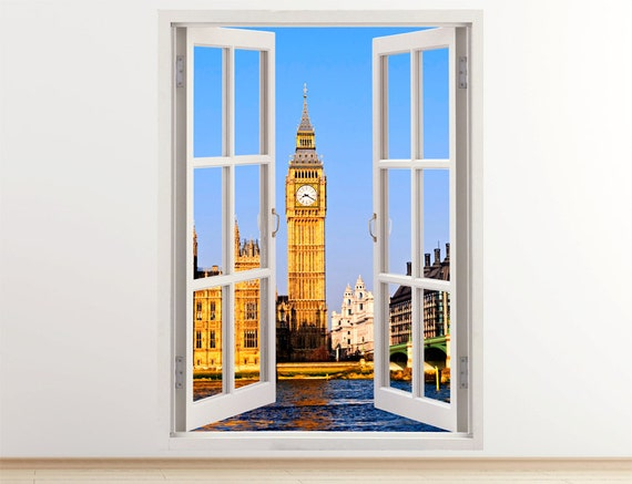 096 London wall sticker UK colorful London city and Westminster wall art decoration united kingdom Big ban wall decal vertical 3D window