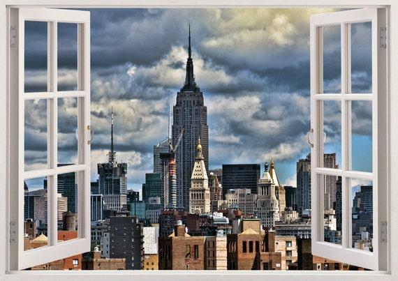 New york skyline wall decal 3D window design New york wall | Etsy