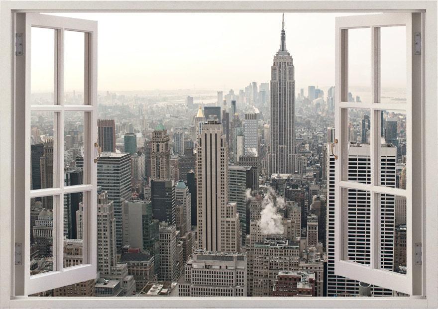 New York Wand Aufkleber 3D Fenster New York Wandtattoo NY für | Etsy