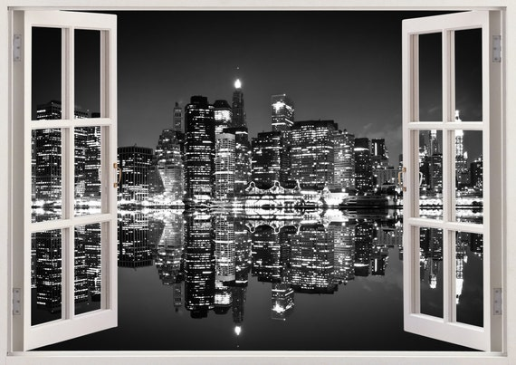 new york skyline wall sticker 3d window black and white new etsy